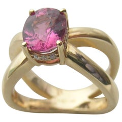Pink Spinel, 18 Karat Gold and Diamond Crown Ring