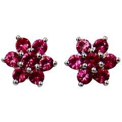 Pink Spinel 18 Karat White Gold Flower Stud Earrings