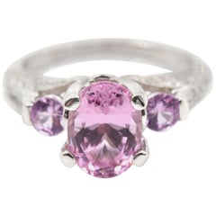 Pink Spinel and Diamond 18 Karat White Gold Ring