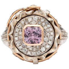 """Pink Spinel and Diamond """"Jeans"""" Ring"""