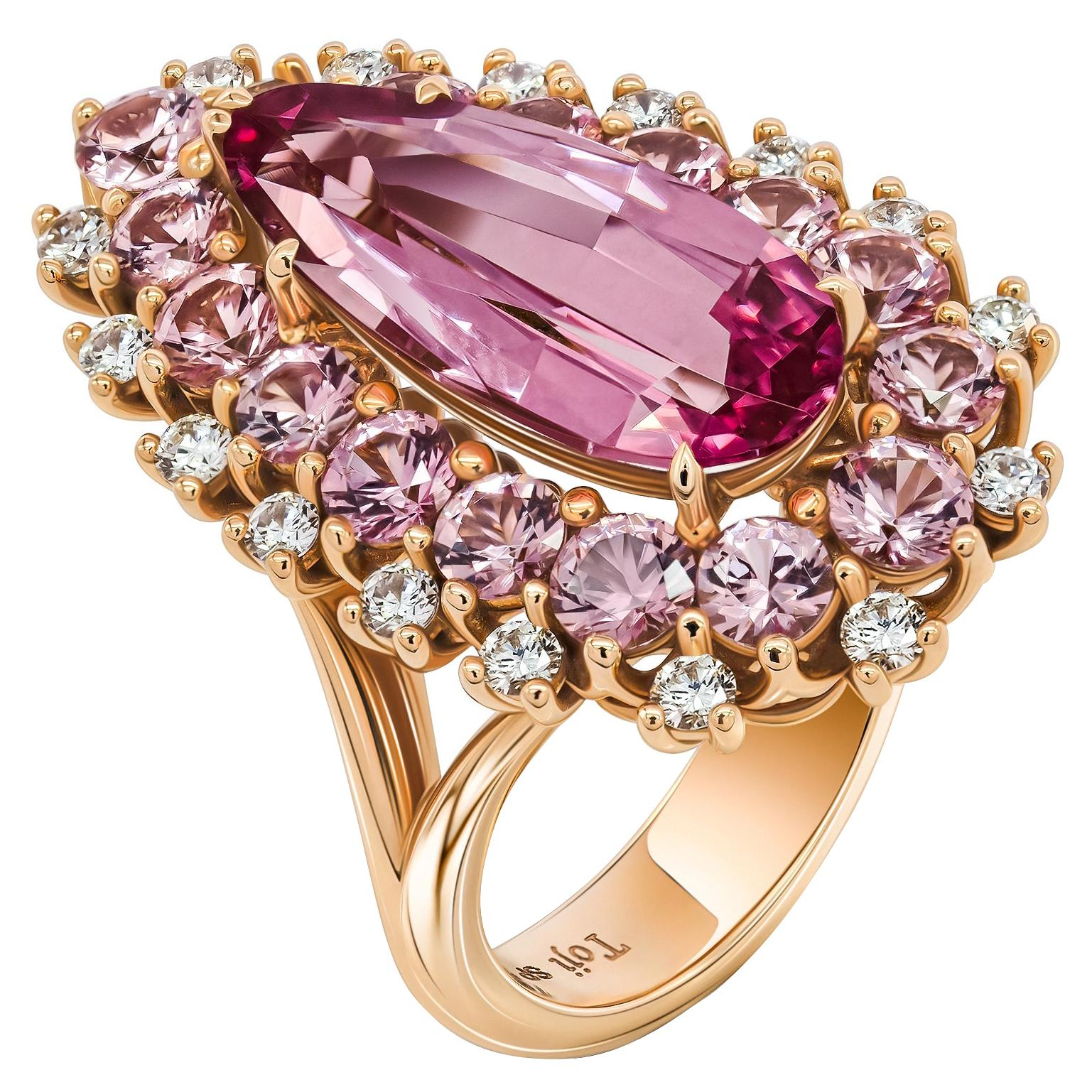 Pink Spinel and Diamonds Ring, 18k Rose Gold, Pink Spinels and Diamonds Ring