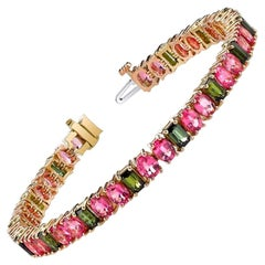 Pink Spinel and Green Tourmaline Yellow Rose Gold Tennis Link Bracelet