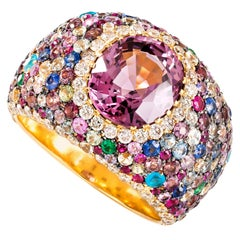 Pink Spinel and Multi-Color Gemstone Contemporary Yellow Gold Cocktail Ring