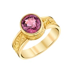 Pink Spinel and Yellow Gold Bezel Set Handmade Engraved Solitare Band Ring