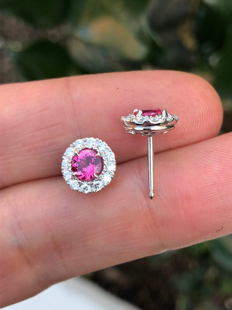 Modern Pink Spinel Diamond Halo Platinum Stud Earrings  For Sale