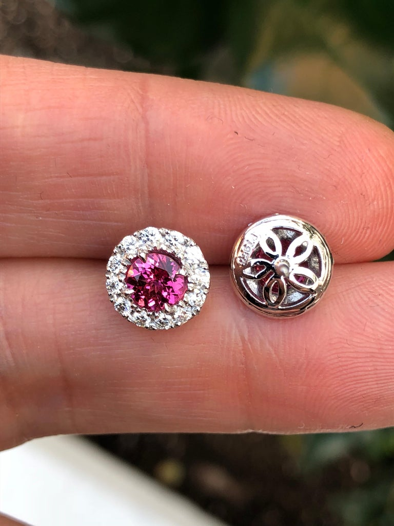 Round Cut Pink Spinel Diamond Halo Platinum Stud Earrings  For Sale