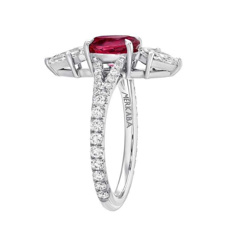 Contemporary Pink Spinel Ring Diamond Platinum Modern Ring  For Sale