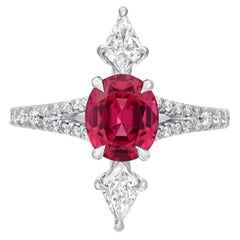 Pink Spinel Ring Diamond Platinum Modern Ring