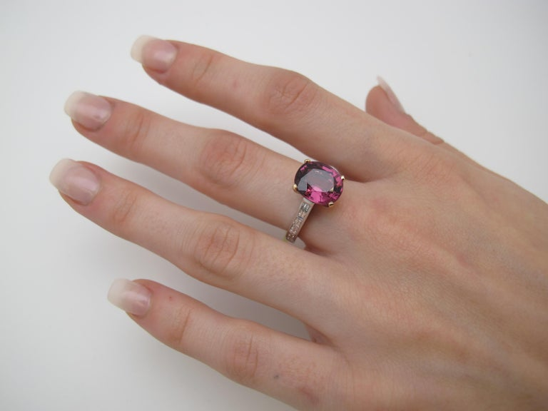 Violetish Pink Spinel (4.84cts) will make you feel pretty in pink! Set in our signature 18k white gold 'Sticks & Stones' mounting with baguette Diamonds (0.67cts tw/F-G- color, VS clarity). Modern and elegant!  Handmade by our jewelers in Los
