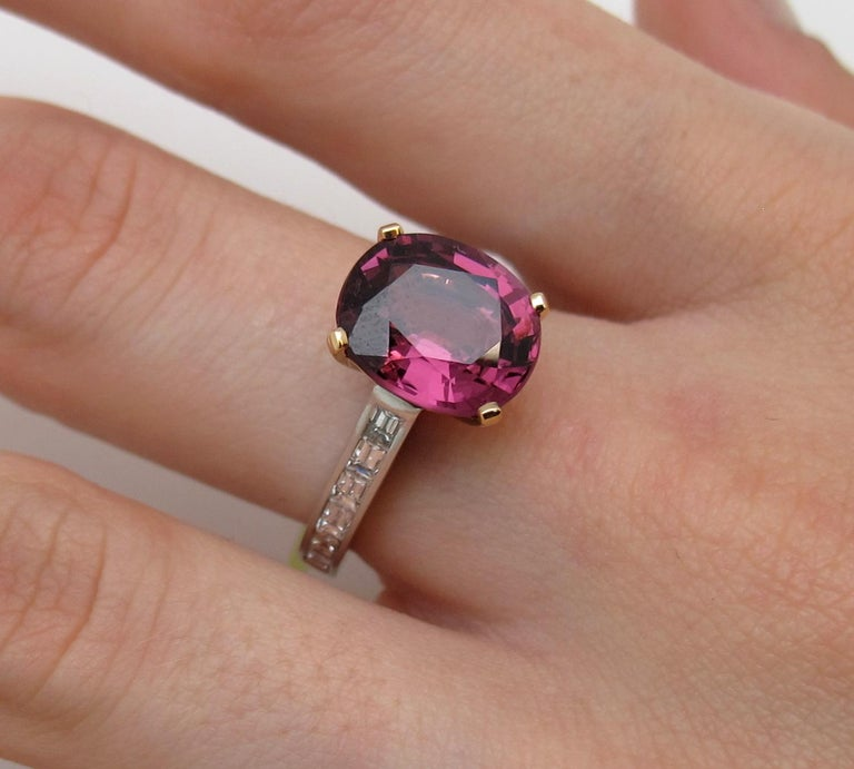 Pink Spinel Diamond white gold Ring In New Condition For Sale In Los Angeles, CA