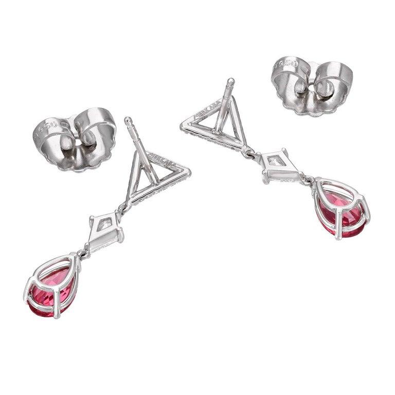 Modern Pink Spinel Earrings Diamond Platinum Pear Shape Drop Earrings For Sale
