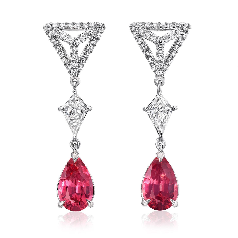 silver 925 earrings, Pink Spinel earrings