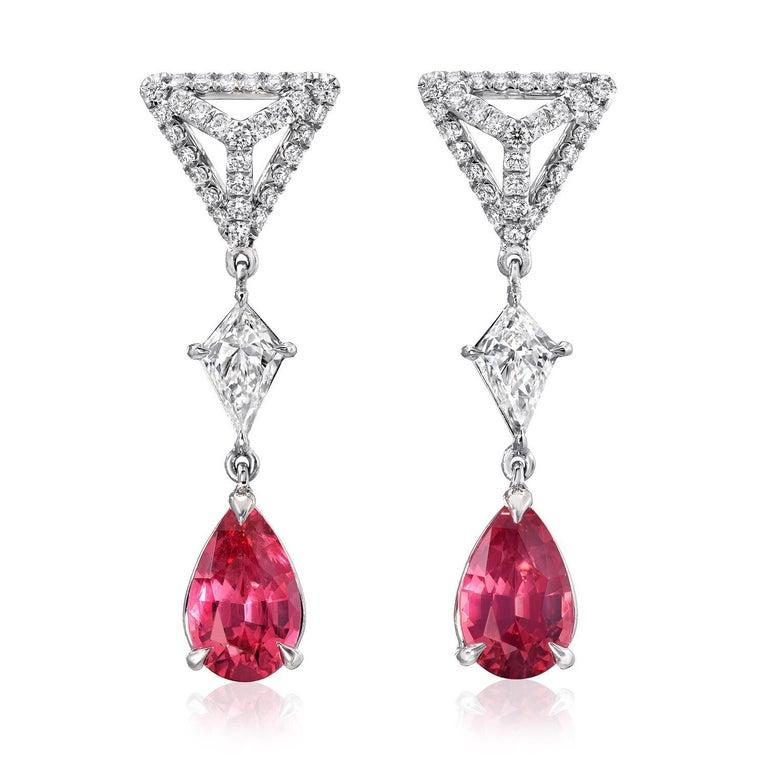 Pear Cut Pink Spinel Earrings Diamond Platinum Pear Shape Drop Earrings For Sale