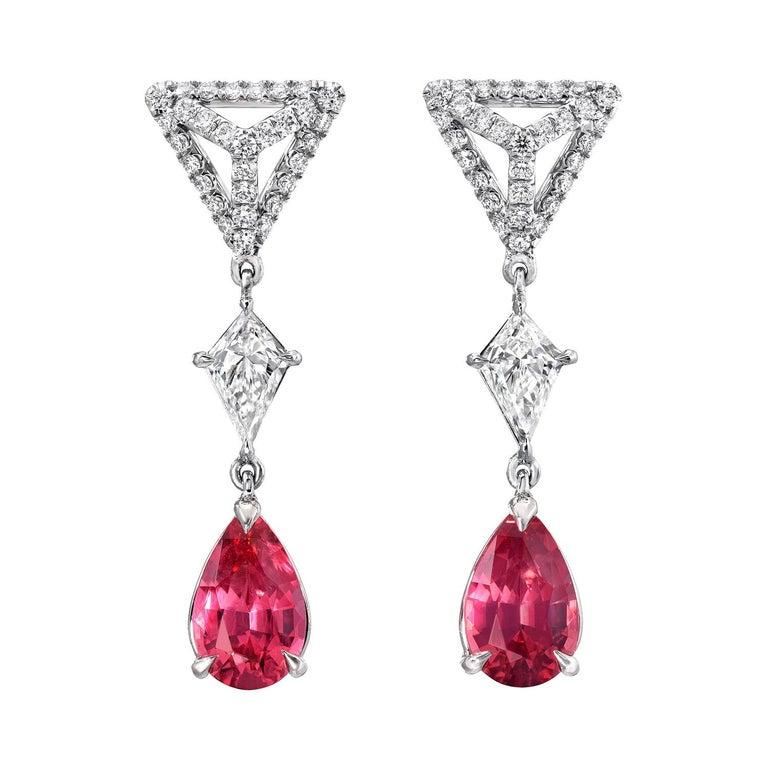 Pink Spinel Earrings Diamond Platinum Pear Shape Drop Earrings For Sale