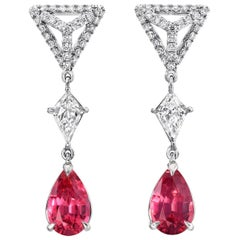 Pink Spinel Earrings Diamond Platinum Pear Shape Drop Earrings