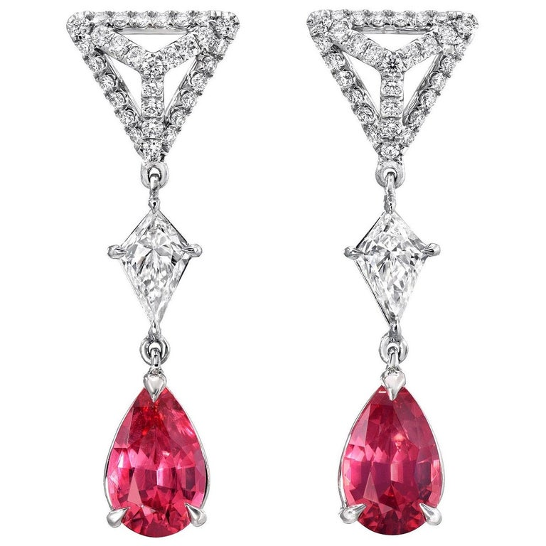Pink Spinel Earrings 1.83 Carat Pear Shapes For Sale