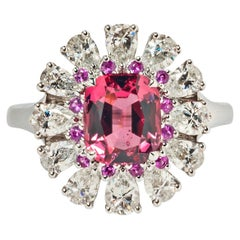 Pink Spinel, Pink Sapphire and Diamond Ring