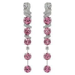 Pink Spinels Earrings Set, 18k White Gold and Diamonds Earrings Set