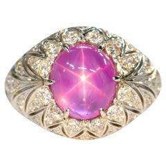 Pink Star Sapphire Diamond Ring