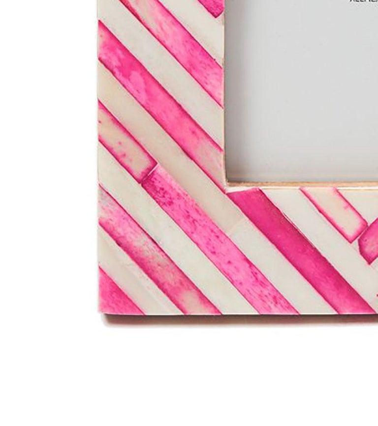 Indian Pink Stripe Modern Bone Inlay Photo Frame  For Sale