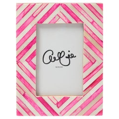 Pink Stripe Modern Bone Inlay Photo Frame