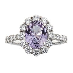 Oval Cut Pink Tanzanite and Diamond Engagement Ring Solitaire in 18k White Gold