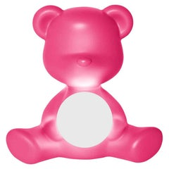 In Stock in Los Angeles, Fuchsia Teddy Bear Lamp LED Rechargeable