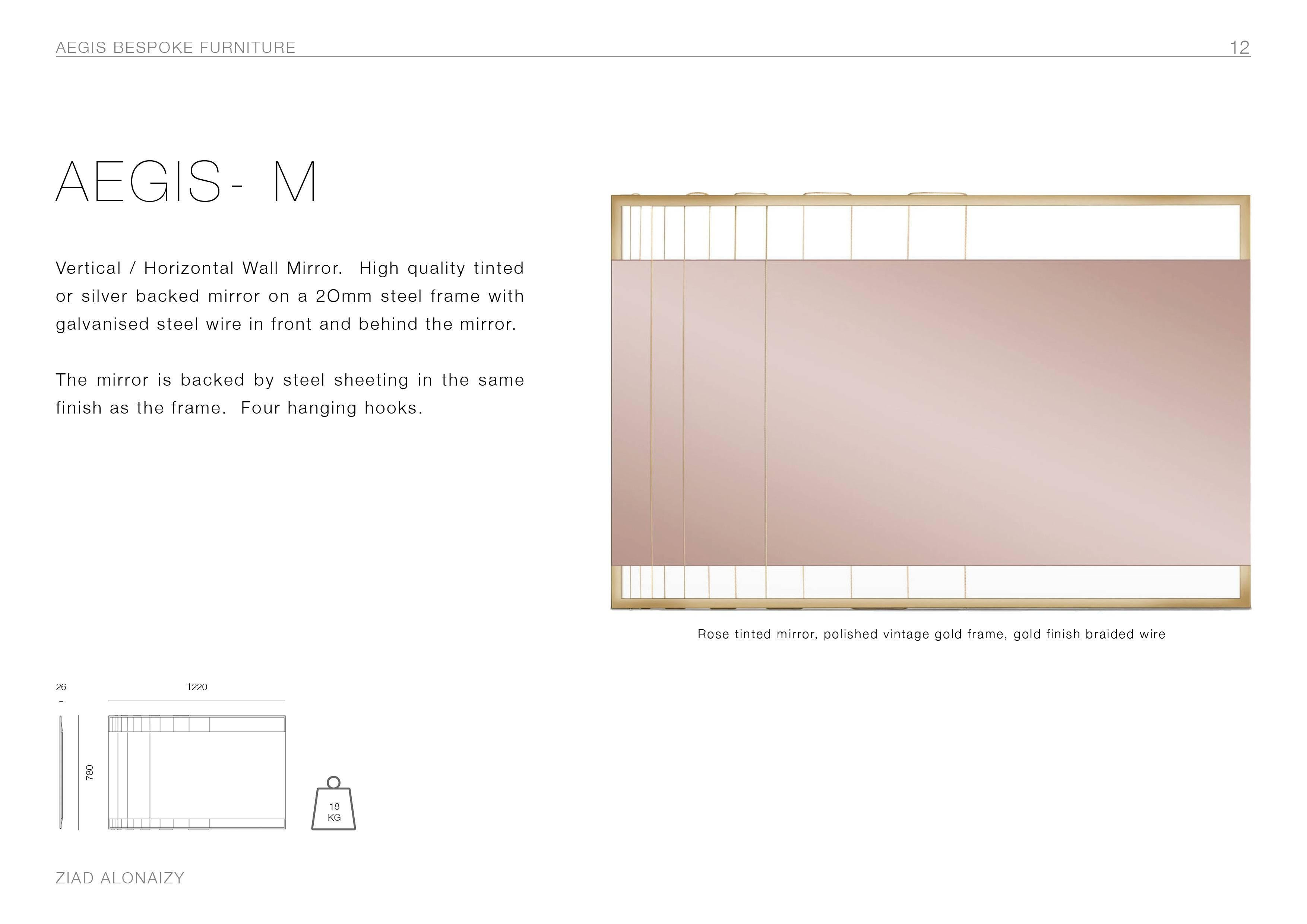 22eaf3c76b3 Pink Tinted Contemporary Mirror on a Gold Metal Frame with Brass Wire For  Sale at 1stdibs