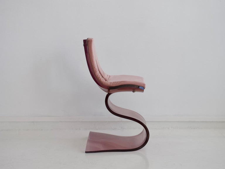 French Pink Tinted Lucite Dumas Chair by Boris Tabacoff For Sale
