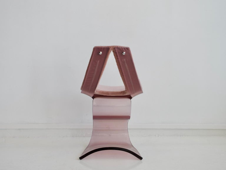 20th Century Pink Tinted Lucite Dumas Chair by Boris Tabacoff For Sale