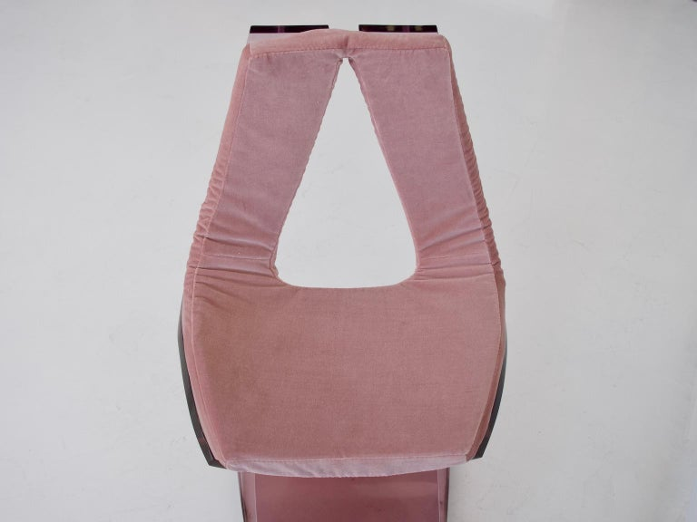 Pink Tinted Lucite Dumas Chair by Boris Tabacoff For Sale 2