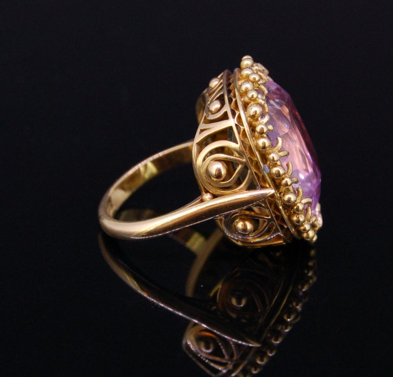 Retro Pink Topaz 20.30 Gold Ring For Sale