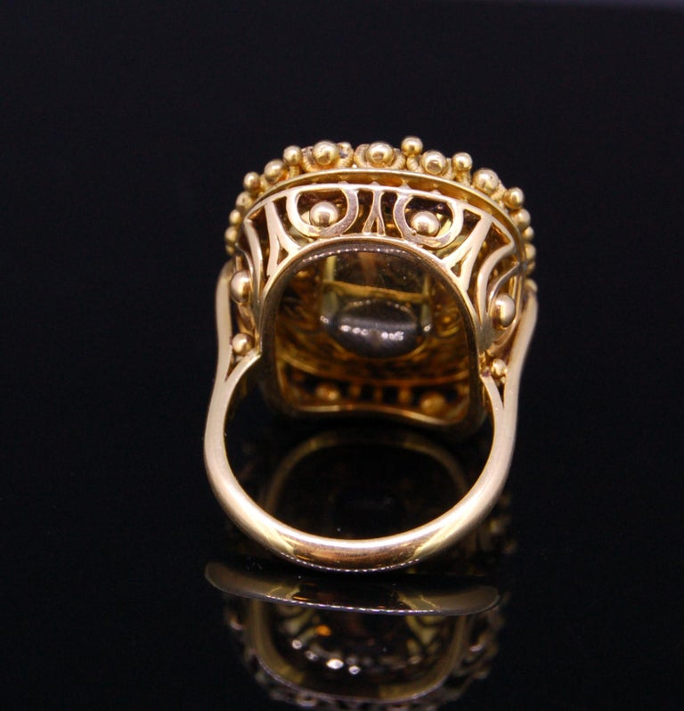 Cushion Cut Pink Topaz 20.30 Gold Ring For Sale