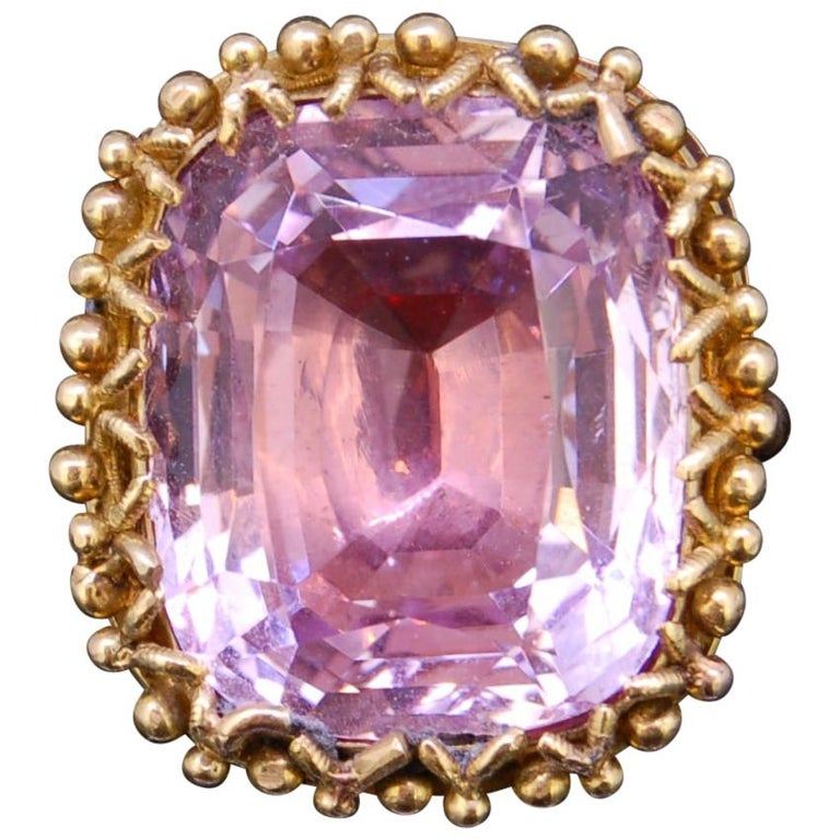 Pink Topaz 20.30 Gold Ring For Sale