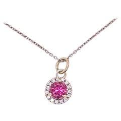 Pink Topaz and Diamond Halo Pendant 14 Karat White Gold Necklace November Birth