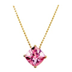 Pink Topaz Cushion Cut Gemstone with Yellow Gold Beaded Chain, Natural Genuine