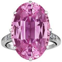 Pink Topaz Diamond Oval Cut Platinum Ring
