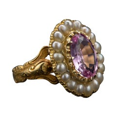 Pink Topaz & Natural Pearl Ring Certified Untreated, London, 1843