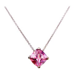 Pink Topaz Necklace Natural and Genuine, Pink Gemstone Cushion Cut in White Gold