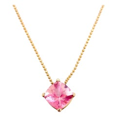 Pink Topaz Pendant w 5 Ct Cushion Yellow Gold Beaded Chain Necklace