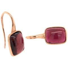 Pink Tourmaline 10.95 Carat on Pink Gold 18 Karat Drop Earrings
