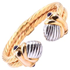 Pink Tourmaline 14 Karat Two-Tone Gold Bangle Bracelet