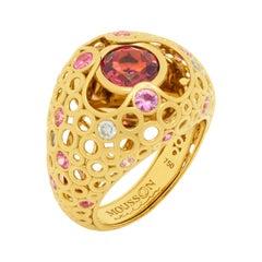 Pink Tourmaline 1.58 Carat Sapphires Diamonds 18 Karat Yellow Gold Bubble Ring