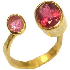Pink Tourmaline 18 Karat Gold Handmade Ring by Disa Allsopp