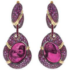Pink Tourmaline 18.40 Carat Ruby Pink Sapphire 18 Karat Yellow Gold Earrings