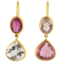 Ico & the Bird Fine Jewelry Pink Tourmaline 22 Karat Gold Earrings