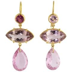 Ico & the Bird Pink Tourmaline 22 Karat Gold Drop Earrings