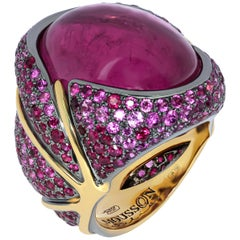 Pink Tourmaline 23.33 Carat Ruby Pink Sapphire 18 Karat Yellow Gold Ring