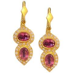 Pink Tourmaline .46 Carat Diamond Gold Earrings by Lauren Harper