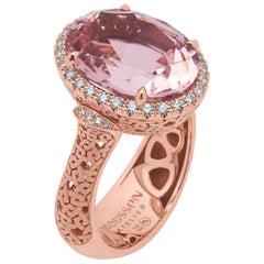 Pink Tourmaline 8.37 Carat Diamonds 18 Karat Rose Gold Ring